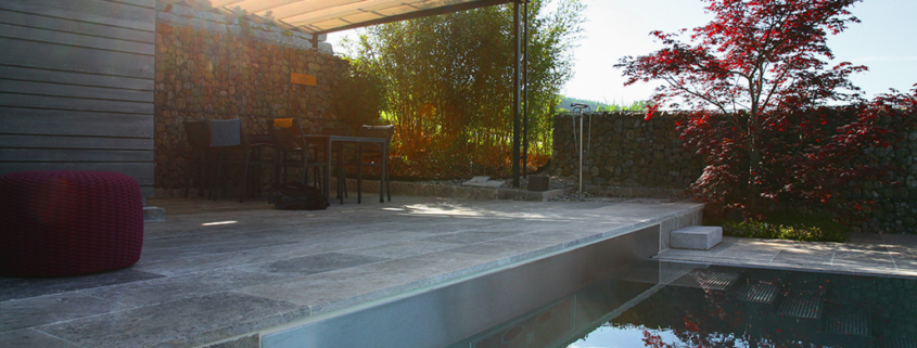 Gartenarchitektur Natursteinplatten Travertin Matter Garten