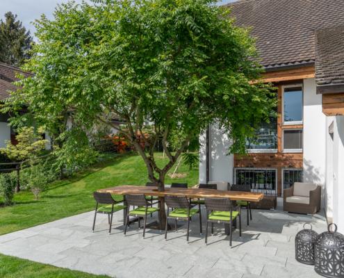 Baum in Tisch dient als natürlicher Schattenspender